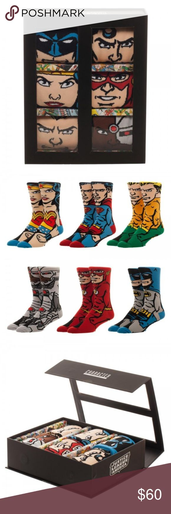 DC Comics Justice League Character Sock Set Men's Officially Licensed Justice League Character Gift Set of 6 Men's Crew Socks!  You get:  Superman, Batman, Wonder Woman, Aquaman, Cyborg, and The Flash!  Theme:  DC Comics / Justice League - Officially Licensed Pattern:  Justice League 360 / Whole Body Socks (Front and Back) Style:  Men's Casual / Crew Socks Sock size:  Adult - One Size Fits Most   Material:  96% Polyester, 2% Spandex, 2% Other Fiber Brand: Bioworld  Intended for Ages 14 and…