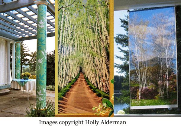 Birches garden banner by Holly Alderman for Saint-Gaudens National Historic Site on Cornish NH, photoshop transparent blends on satin