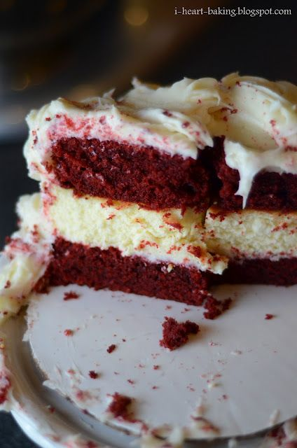 Red velvet cake with cheesecake middle and cream cheese frosting