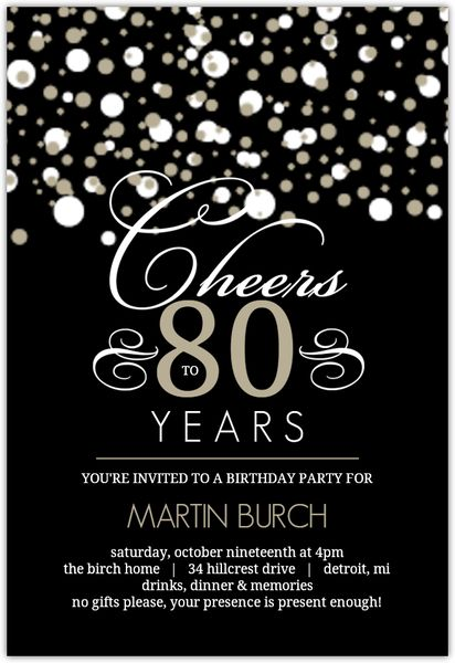 Black And Taupe Elegant Confetti 80th Birthday Invitation