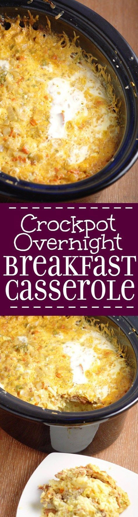Crockpot Overnight Breakfast Casserole recipe is a classic make ahead breakfast casserole with eggs, sausage, bacon, hash browns, and cheese, Great for the holidays and a crowd.