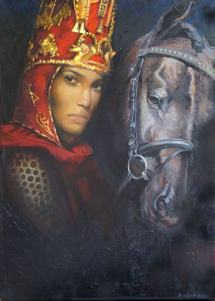 "Kazakh painter Nurlan Abishev. ""The queen of Skythian tribe Massagetean"" in Golden Man costume"