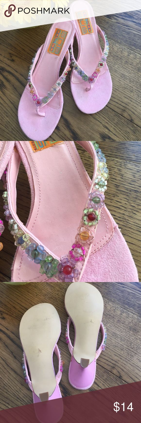 Pretty pink beaded kitten heel sandal by Magic Bus Cute pink sandal w/intricate beading along straps.  Preppy and prettty!  Suede pad for your toes. Magic Bus Shoes Sandals
