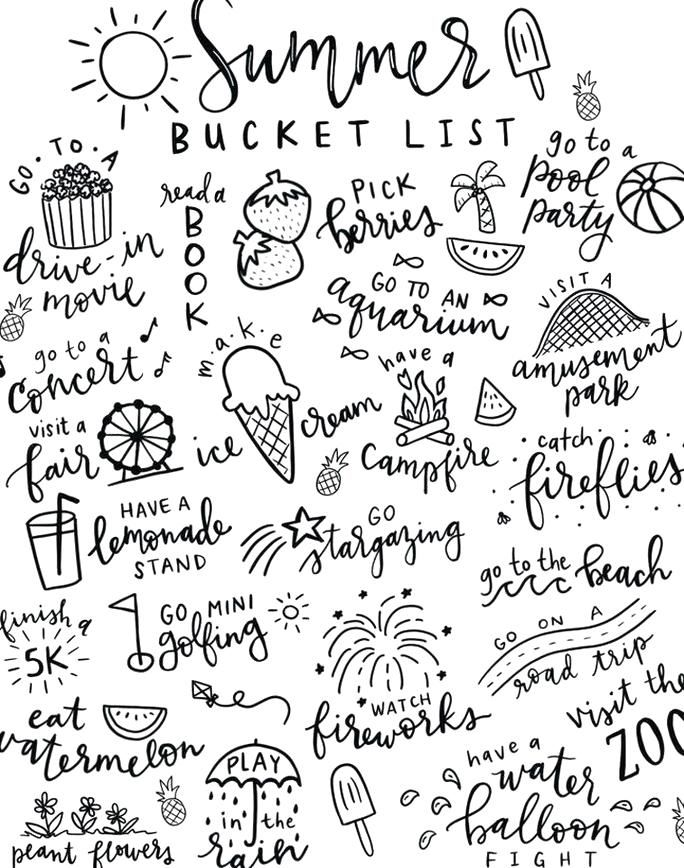 Summer Bucket List Free Printable Coloring Page That Is Perfect For Kids And Families Free Printable Coloring Pages How To Draw Hands Printable Coloring Pages