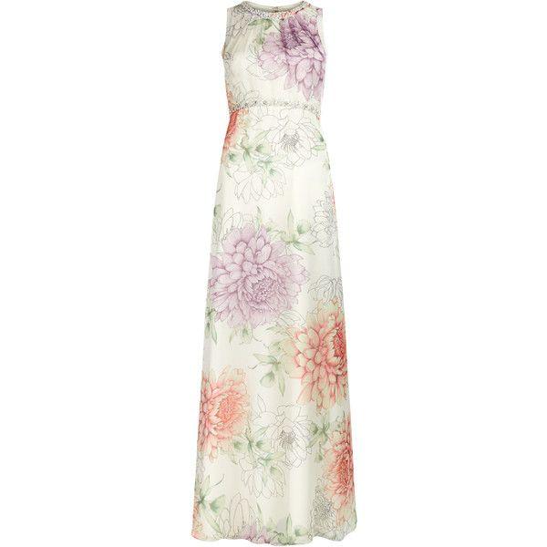 Monsoon Dahalia Maxi Dress ($228) ❤ liked on Polyvore featuring dresses, sparkly maxi dress, print dress, embellished dress, ruched dress and white maxi dress