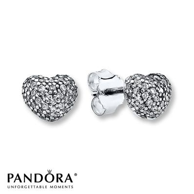 Pandora Earrings Clear CZ Sterling Silver $60…I love Pandora