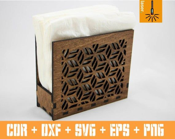 Decorative Napkin Holder Vector laser cut template. Vector cnc svg file. Layout cnc machine. Svg files for laser cut plywood box