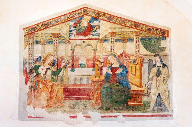 Affresco della bottega degli Sparapane da Norcia, Annunciazione, Logna, chiesa di S. Giovenale