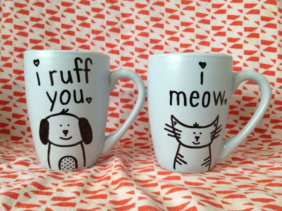 Valentines day gift idea Valentines Day Cat and Dog Mug Set on Etsy, $21.00