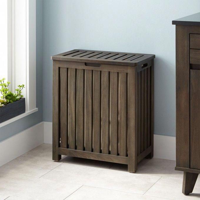 Greybathroomwithblueaccessories Laundry Hamper Wood Laundry