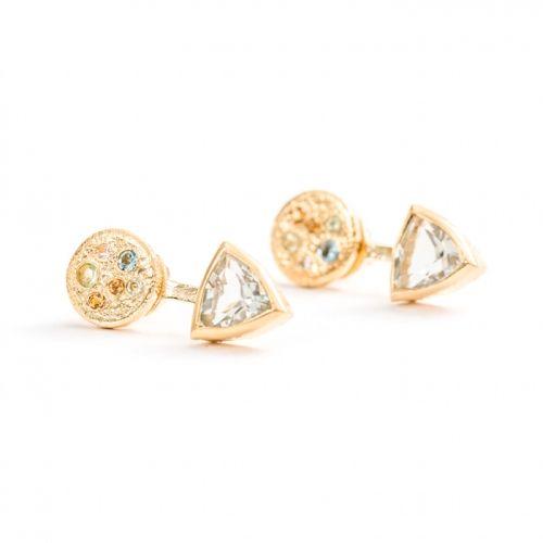 Trillion Earrings   Gold Green Amethyst