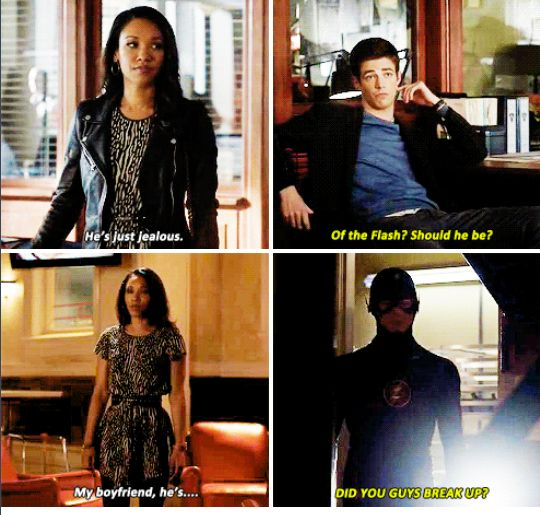 """Barry and Iris in Flash vs Arrow. I love how subtle (and by """"subtle"""" I mean TOTALLY OBVIOUS) Barry is here. He visibly perks up at the idea of Eddie needing to be jealous of Flash, and then he's like, """"DID YOU GUYS BREAK UP?!? Oh."""" 