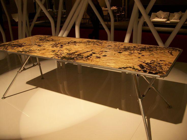 #wood #table - #painted #flowers