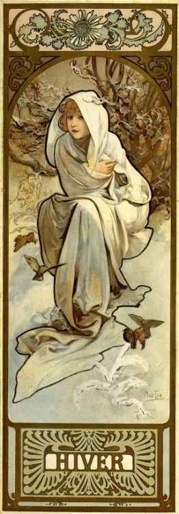 "classicwood: "" Alphonse Mucha: The Seasons : Winter (1897) """