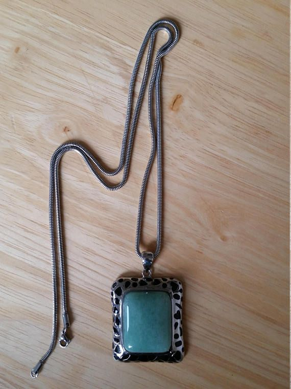 Green stone necklace square shape necklace silver necklace