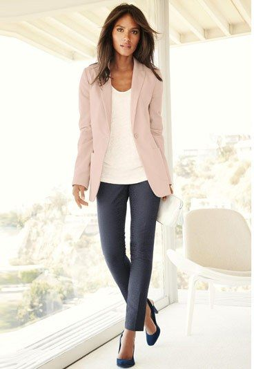 Pastel blazer with soft gray slacks. Casual Friday...here I come. See what JewelMint has in store for you too:) Take a peek.
