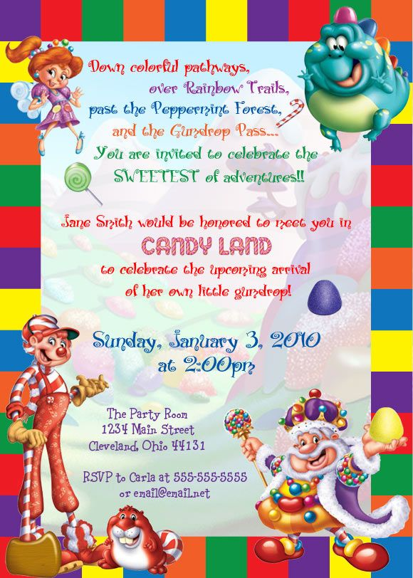 shower invitation digital file printable candyland candy land and