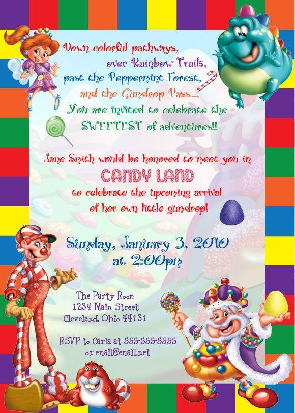 109 best Candyland Babyshower images – Candy Land Birthday Invitations