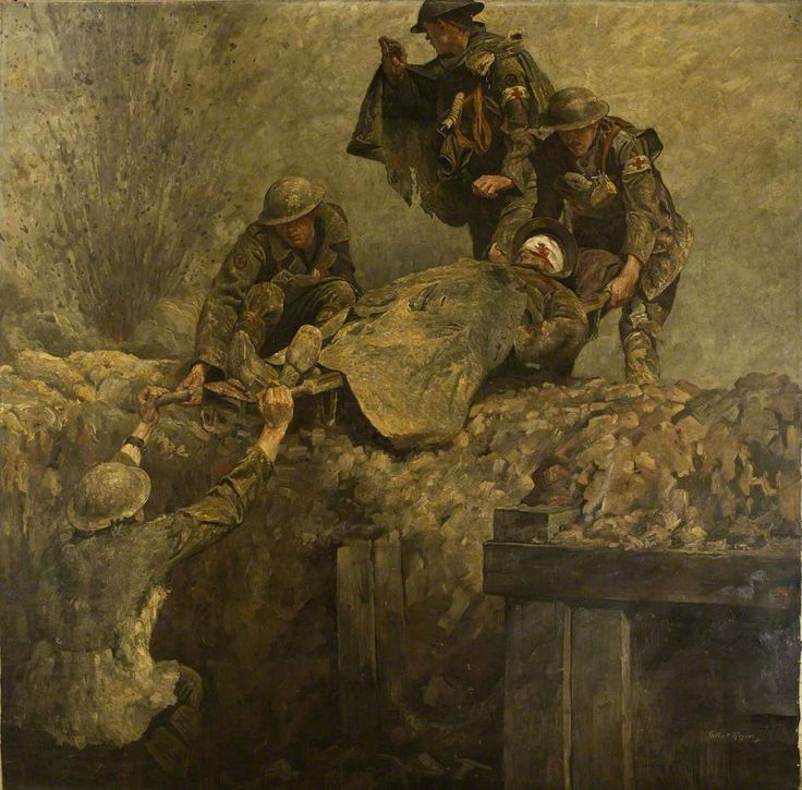 Stretcher Bearers of the Royal Army Medical Corps (RAMC) Lifting a Wounded Man out of a Trench, by Gilbert Rogers, 1919.