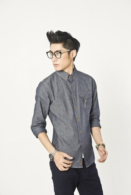 Korean Style Simple One-Pocket Design Long Sleeve Casual Jeans Shirt For Men