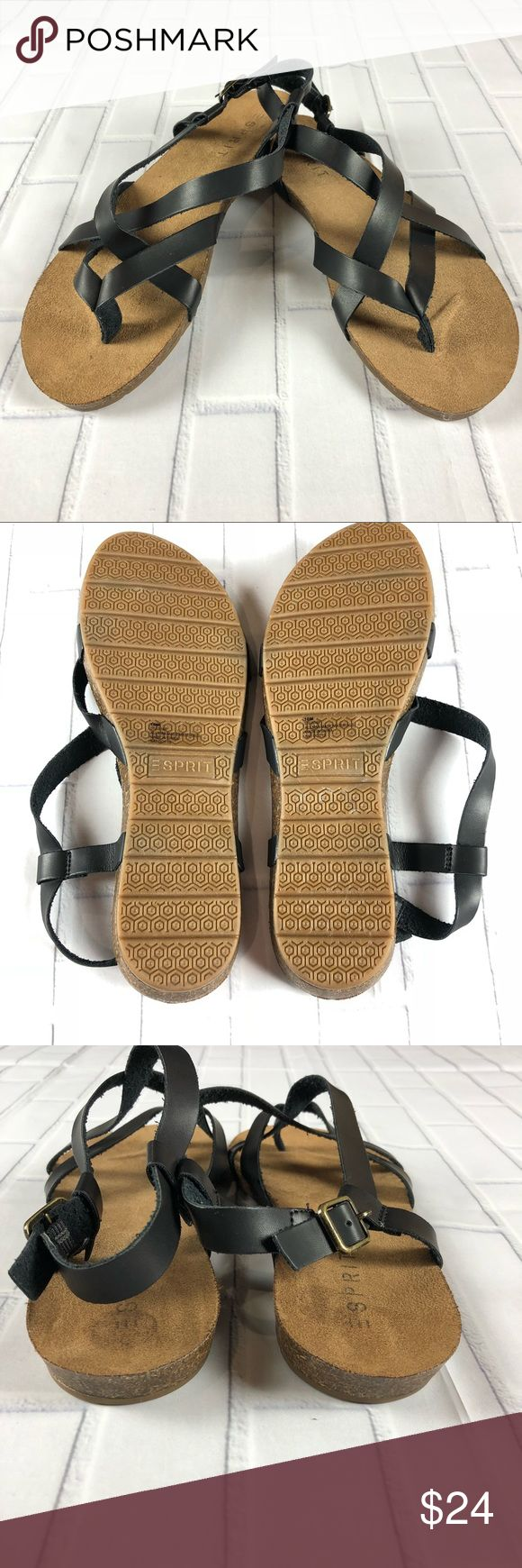 """ESPRIT LIV Strappy Sz 10 Cork Midsole NWOB Defect Esprit Womens Liv Sandals LIV-S16P  Color-Black  Size-10  Item Description-Synthetic Rubber Sole  Heel Measures- Approximately 0.75 inches""""  Buckle Closure  Suede Like Sock  Cork Midsole  Sturdy Rubber Sole Provides Ground-Gripping Traction  Condition-NWOB Defect-small amount of sticker residue on heel, see pictures. No other flaws. Esprit Shoes Sandals"""
