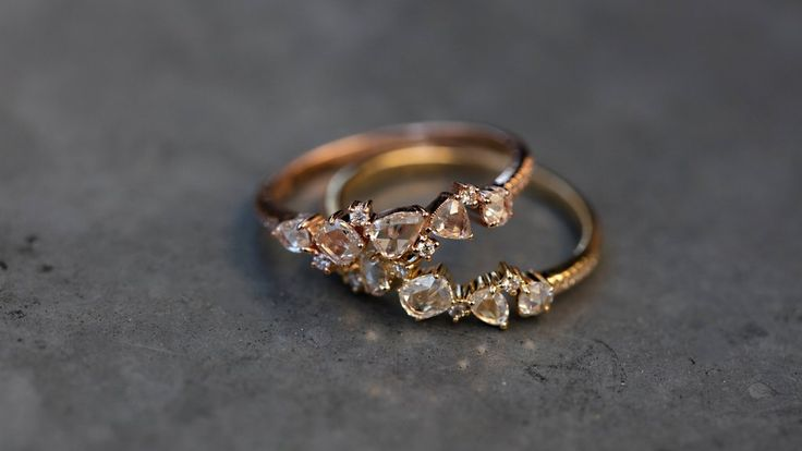 14kt gold rose cut diamond cluster ring – Luna Skye by Samantha Conn