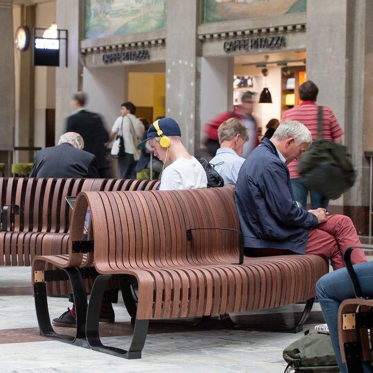 Green Furniture Sweden – /Nova C with BackRest at Stockholm Central Station  #greenfurnituresweden #greenfurniture #JohanBerhin #ecofurniture #sustainabledesign #scandinaviandesign #novac  #novacwitharmrest #novacwithbackrest #StockholmCentralStation  #bench