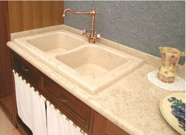 Lavello cucina in marmo giallo d 39 istria a due vasche - Lavandini in marmo per cucina ...