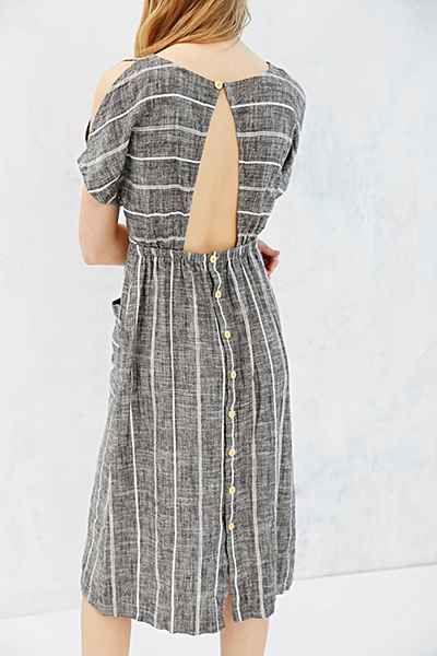 Cooperative Button-Back Cold-Shoulder Midi Dress - Urban Outfitters