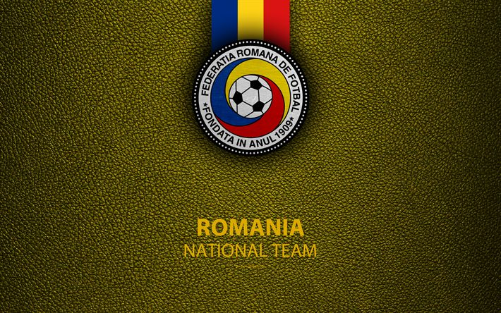 Download wallpapers Romanian national football team, 4k, leather texture, emblem, logo, football, Romania