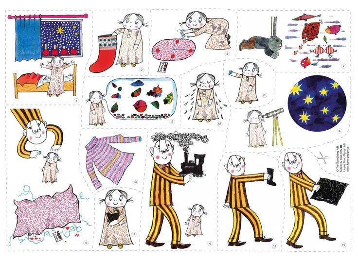 Härlig julsaga om Lilla Anna och Långa Farbrorn som flanosaga. Lättberättad, bara klipp ut flanellografbilderna och berätta sagan med hjälp av flanotavlan.