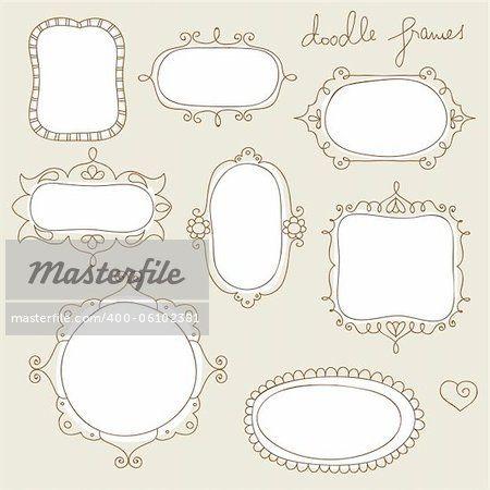 Stock photo of vector illustration of collection of hand drawn, vintage stye, picture frames; Royalty-Free, 400-06102381 © zsooofija / Masterfile. All rights reserved.