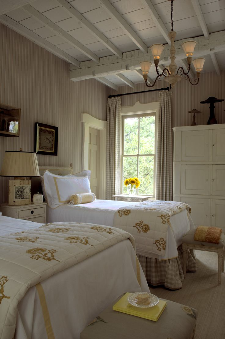 Cottage Chic Guest Bedroom by Cathy Kincaid Interiors