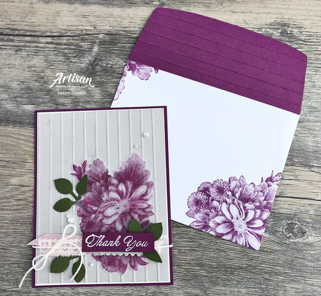 Mail a Card Monday | Fancy Friday Blog Hop @stampinup Heartfelt Blooms Sale-a-Bration stamp set 2018 by @cathycaines stripes embossing folder Card with matching envelope #fancyenvelope #floralcard #thankyoucard #handstamped #handmade #diy
