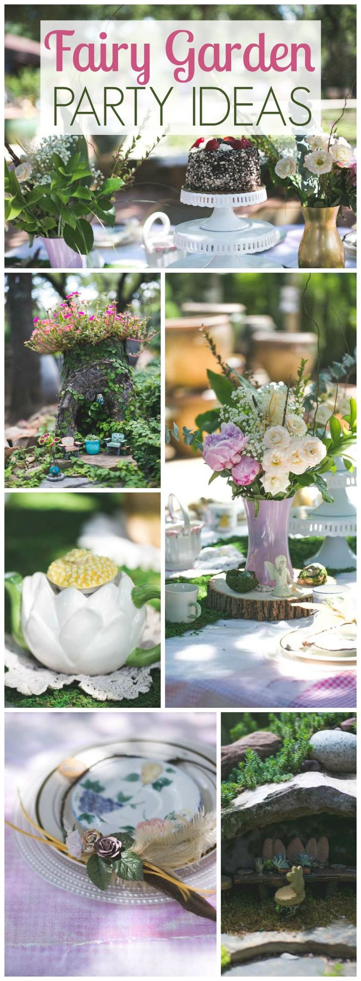 Love this enchanted fairy garden tea party with fun activities! See more party ideas at CatchMyParty.com!