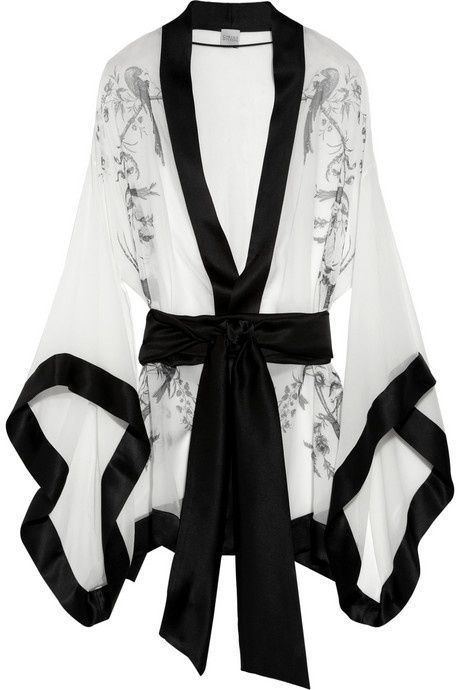 Carine Gilson black and white robe #loungewear #lingerie                                                                                                                                                                                 More