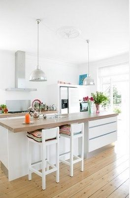 white kitchen - a little modern for me, but I love how open it is.