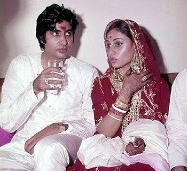 Amitabh Bachchan and Jaya Bhaduri on their wedding day