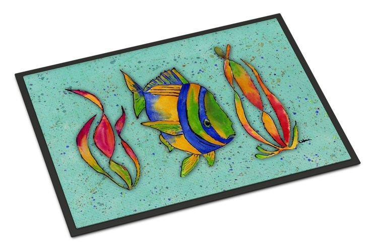 Tropical Fish on Teal Indoor or Outdoor Mat 24x36
