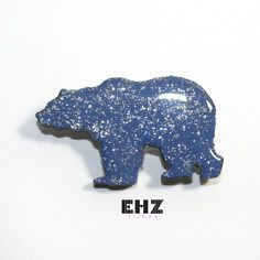 Ehz bijoux broche épingle bijou ours polaire bleu pailletté
