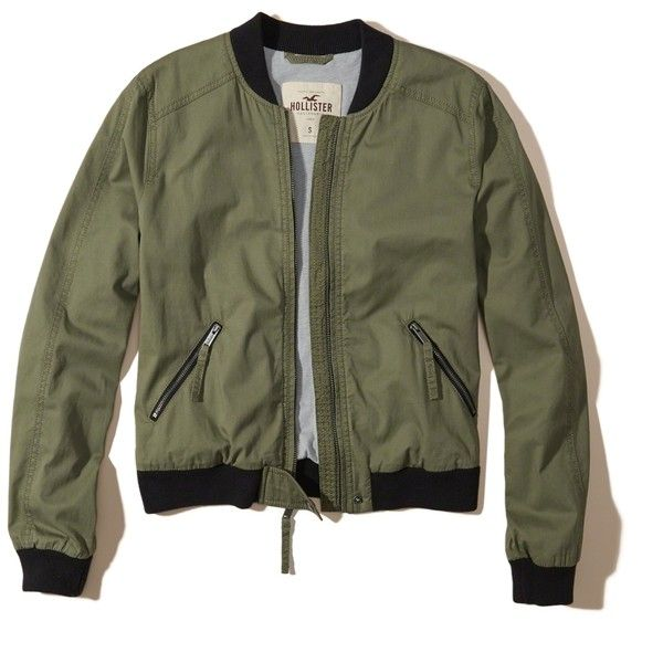 Hollister Twill Bomber Jacket ($50) ❤ liked on Polyvore featuring outerwear, jackets, olive, blouson jacket, twill bomber jacket, lightweight bomber jacket, zip front jacket and light weight jacket