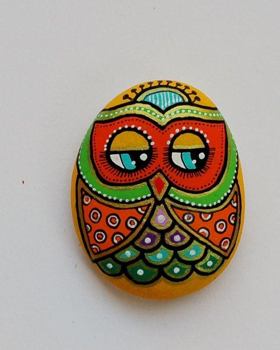 Hand Painted Pebble Owl/handpainted Owl