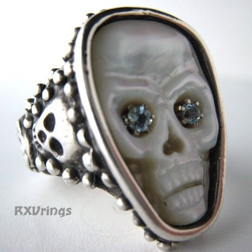 Aqua Eyes Skull Mother of Pearl Silver ring: Skull Mothers, Pearls Silver, Mothers Of Pearls, Eye Skull, Mother Of Pearls, Pearls Skull, Skull Rings, Silver Rings, Aqua Eye