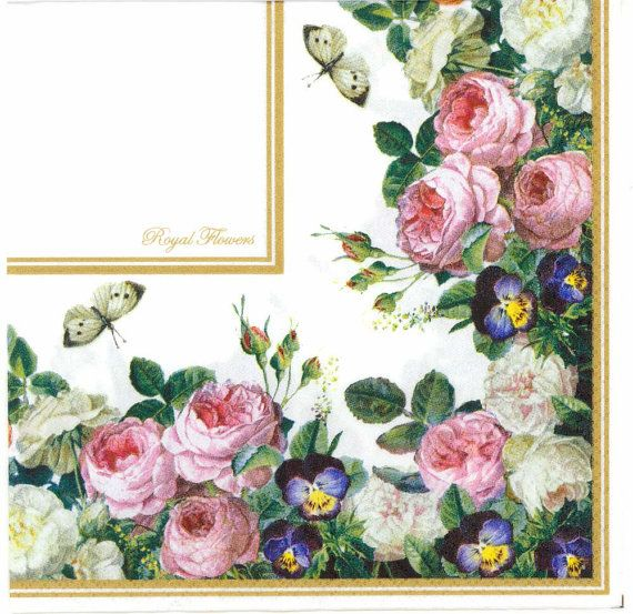 Decoupage Napkins  Royal German Roses and Butterflies  Rose