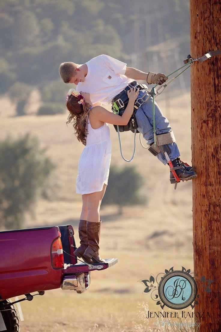 Cute lineman couple engagement pose idea. Lineman ...
