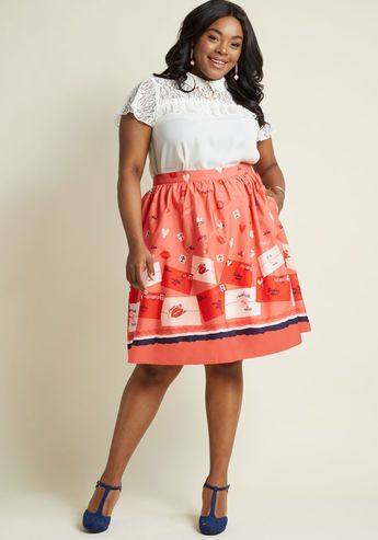 Charming Cotton Skirt in Love Letters - Whoever believes staple pieces should only be solid needs to met the sweet versatility of this pink midi skirt! A cotton offering from our ModCloth namesake label, this A-line makes it a pleasure to pair its hidden pockets and love letter print with your pieces both new and cherished.