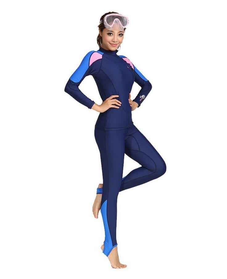 Купальный костюм купальники вс уф защитный костюм носить с длинными рукавами подводное плавание, Водолазный костюм мужчина / женщина сиамские купальник