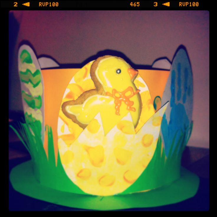 Easter bonnet for a boy - just try to stop them eating the Easter chick biscuit!