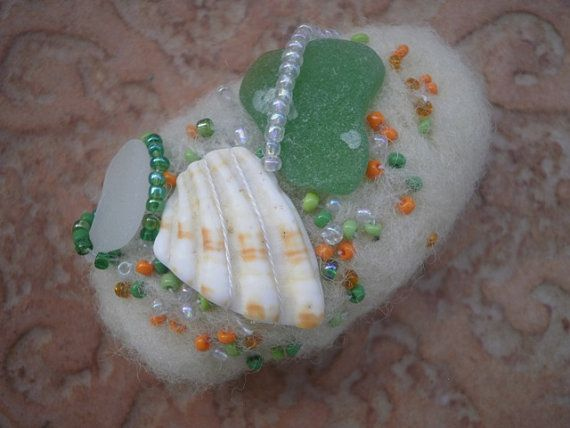 Sea glass beaded  felted stone ecru felted stone by thalasseaglass, $10.00