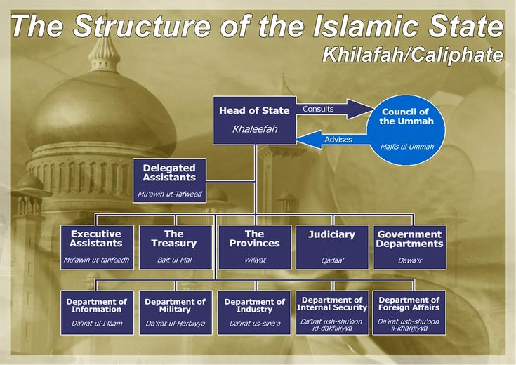 The Khilafah (Caliphate) is a general leadership over all Muslims in the world. Its responsibility is to implement the laws of the Islam system and convey the Islamic Message to the rest of the world. The Khilafah is also called the Imama as both words have been narrated in many sahih ahadith wi